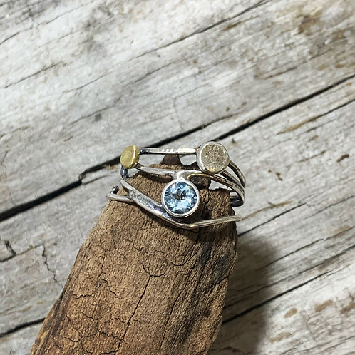 Sun and Moon ring with Aqua