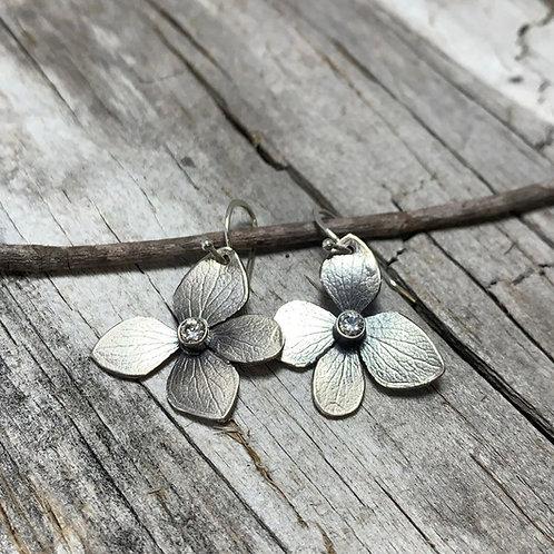 Hydrangea Petal Earrings with Diamonds