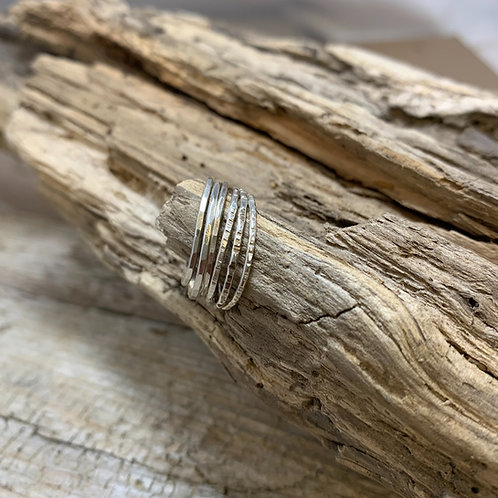 Hammered Stacking rings in Sterling