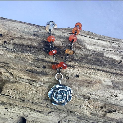 Rose Blossom Pendant on Mex. fire Opal chain