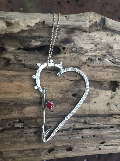 Abstract Heart Pendant with Ruby