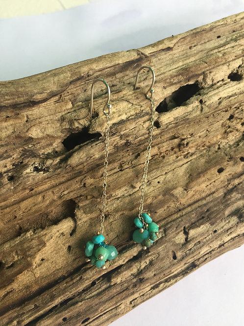 Clusters of blue on Sterling earrings