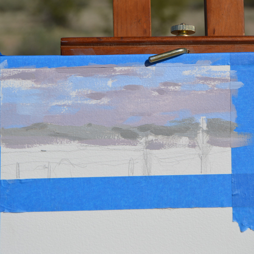 The clouds were moving quickly so I started to guess where highlights and shadows needed to be. The color of the distant mountains almost matched the lowest part of the sky. This gave me a challenge in separating the two on the paper. Not sure if I'm happy with what I decided. It's easy to overwork and complicate the space when painting en plein air.
