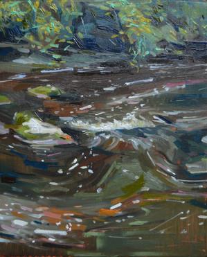 """Cedar Creek Oil on Cradled Panel 8"""" x 10"""" 2021 Framed in Maple Float Frame"""