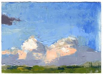 "Bristol Clouds II Oil on Primed Paper 4"" x 5.5"" 2018"