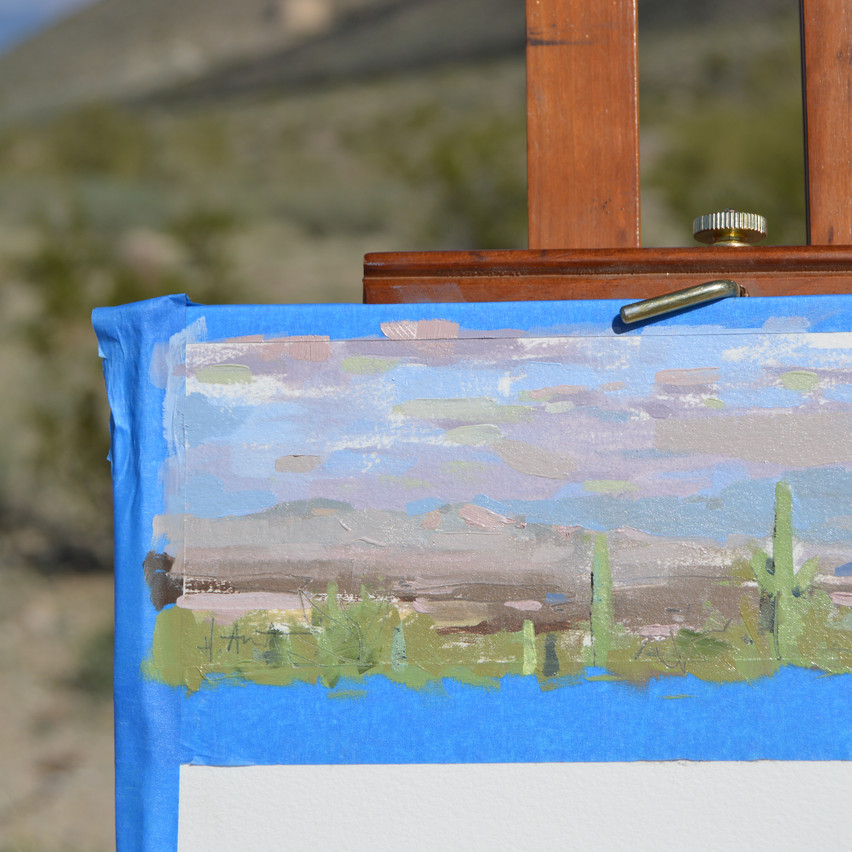 The final painting felt stronger after I added the saguaro cacti. The first painting always gets the rust out for me when I start painting on location. The next two felt much looser and comfortable to paint.