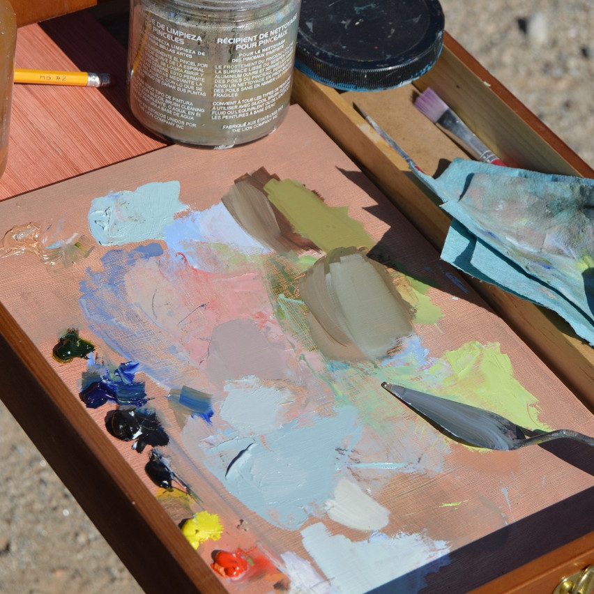 Here's what my palette looked like after this painting.