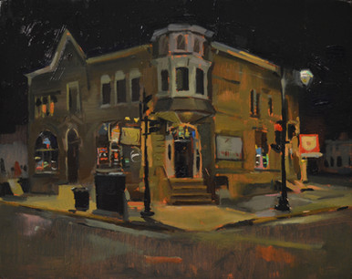 """Maxwell's At Midnight Oil on Cradled Panel 11"""" x 14"""" 2021 Framed in Maple Float Frame Private Collection"""