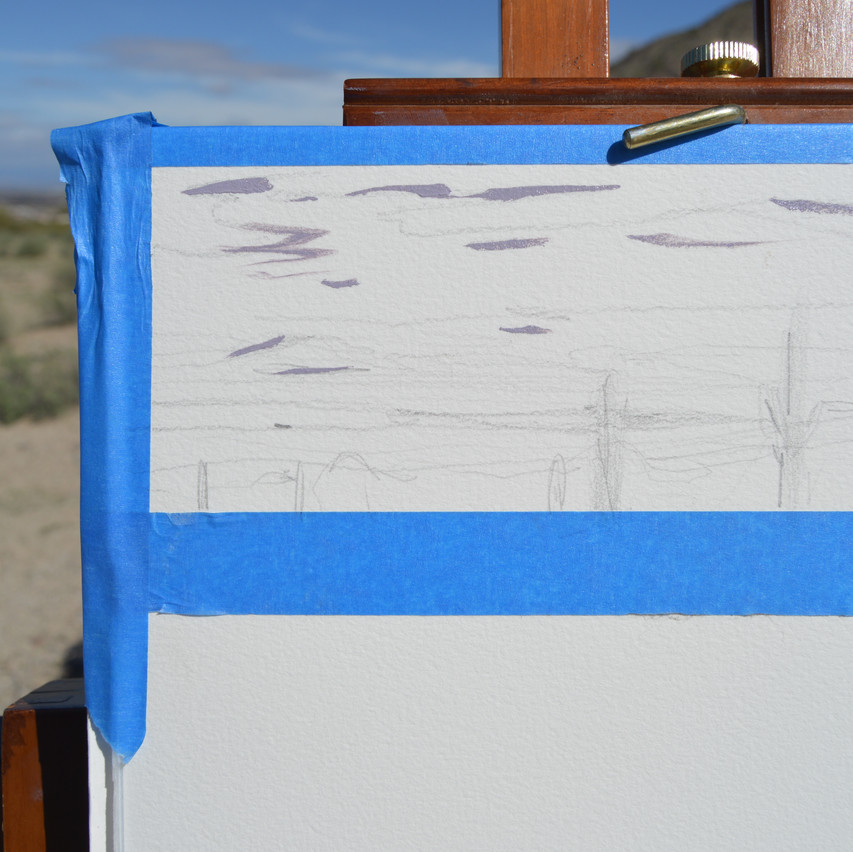 You can see my quick graphite sketch and the first color I laid down. A gray/purple to separate the clouds.