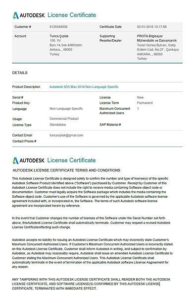 Autodesk 3ds Max 2016 License Certificate