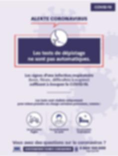 Infographie du gouvernement : les tests de dépistages pas automatique