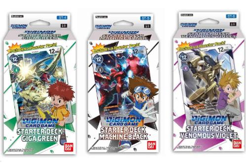 Digimon Card Game Starter Deck Black (ST5), Green (ST4), Violet (ST6)
