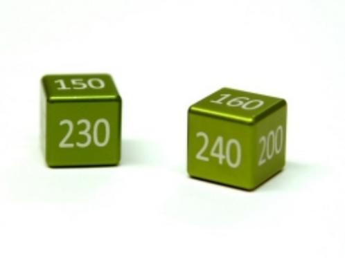 ALUMINIUM MEGA/GX DAMAGE COUNTERS SET (2 PCS) GRASS GREEN ANODIZED