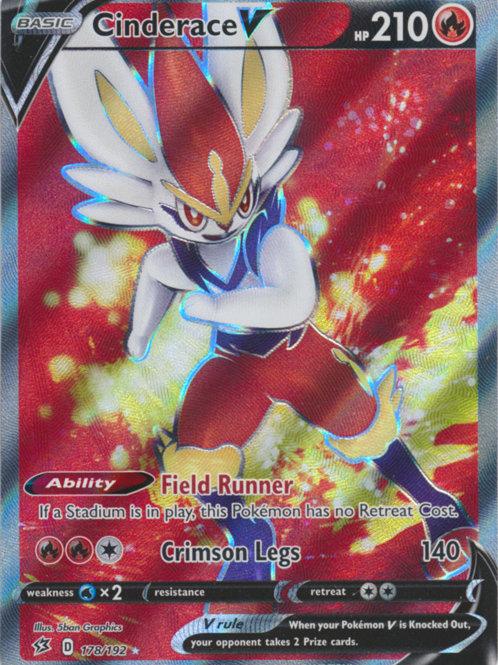 Pokemon SWSH Rebel Clash 178/192  Cinderace V (Full Art)