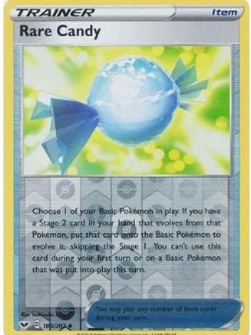 Rare Candy 180/202 - Rev Holo - Sword & Shield Base Set - Pokemon