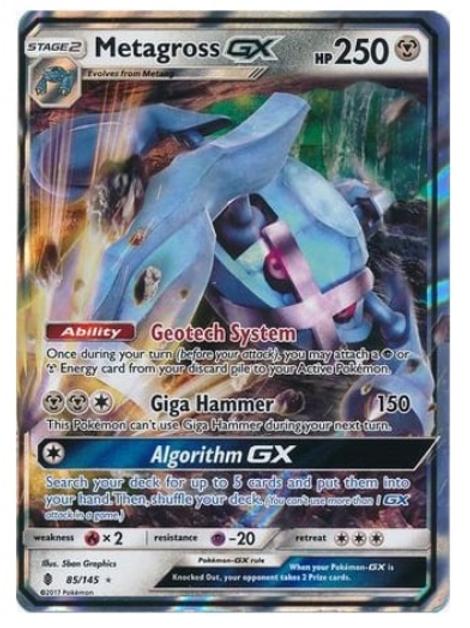 POKEMON SM Guardians Rising 085/145 Metagross GX (Half Art)