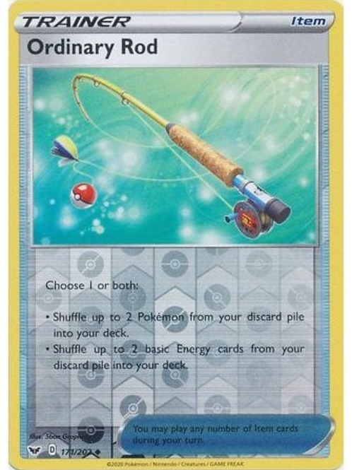 Ordinary Rod 171/202 - Rev Holo - Sword & Shield Base Set - Pokemon