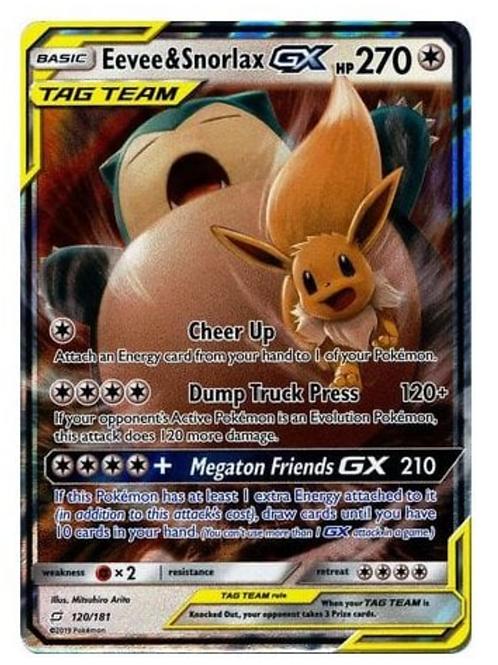 Pokemon SM Team Up 120/181 Eevee & Snorlax GX (Tag Team Half Art)