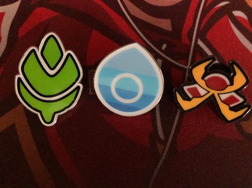 Pokemon Champions Path Turffield , Hulbury, Motostoke Gym Pin Badge Set