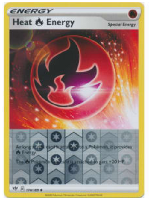 POKEMON DARKNESS ABLAZE #174 Heat Fire Energy (rev holo)