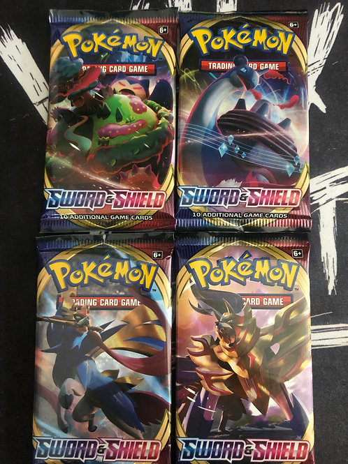 Pokemon TCG: Sword & Shield Base x4 Booster Packs :: All 4 Designs