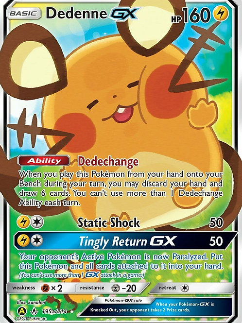 POKEMON SM UNBROKEN BONDS 195A/214 DEDENNE GX (ALTERNATIVE ART)