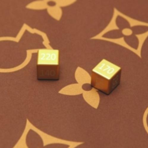 TCEVOLUTIONS Dice - Gold - Aluminium Damage Counters - Set of 2
