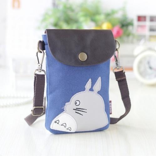 Totoro Mini Canvas Shoulder  Pouch / Bag (Dark Blue)