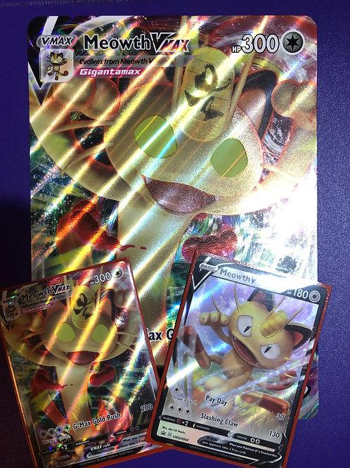PROMO SWSH004 MEOWTH V & SWSH005 MEOWTH VMAX & THE VMAX JUMBO CARD