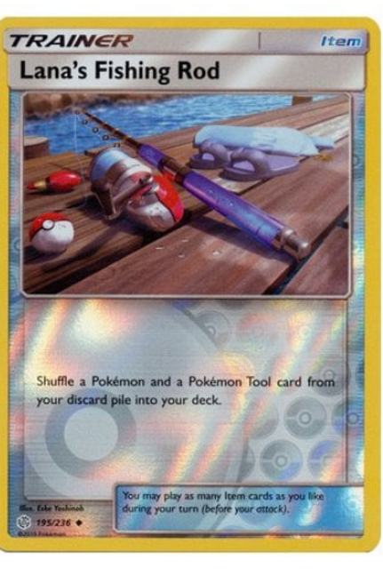 POKEMON COSMIC ECLIPSE 195/236 LANA'S FISHING ROD (Rev Holo)