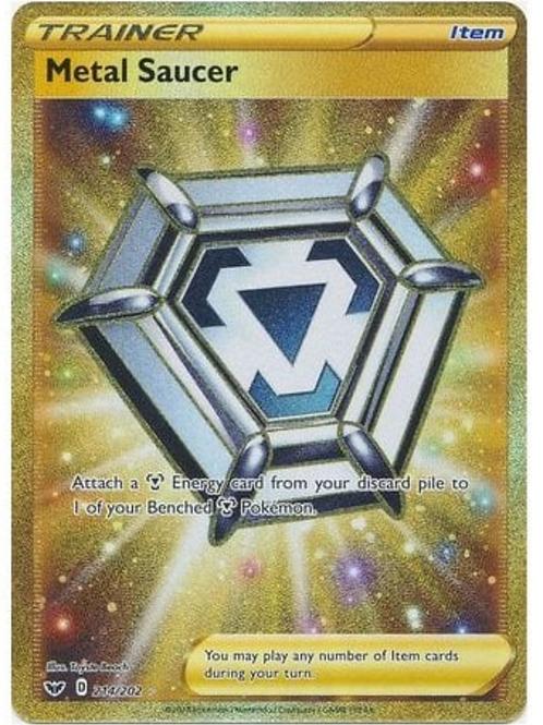 Metal Saucer 214/202 - Gold Secret Rare - Sword & Shield Base Set - Pokemon