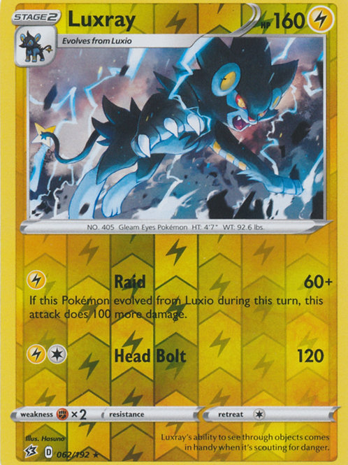 Pokemon SWSH Rebel Clash 062/192 Luxray (Reverse Holo)