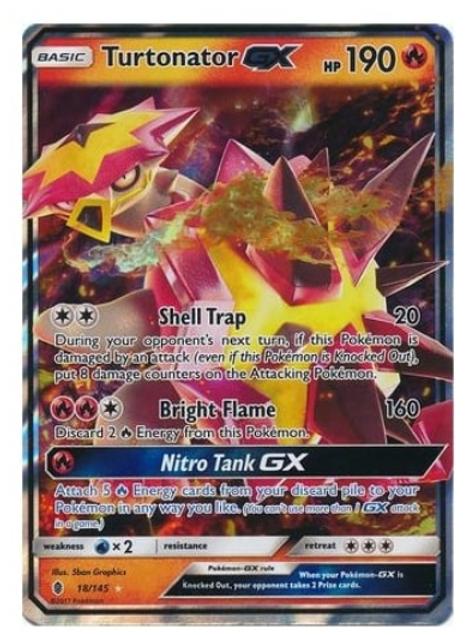 POKEMON SM Guardians Rising 018/145 Turtonator GX (Half Art)