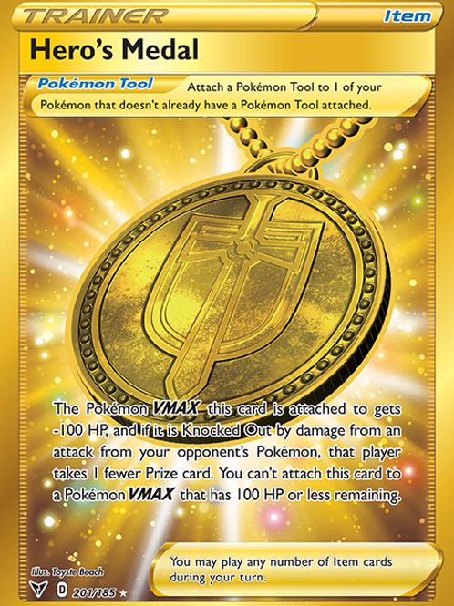 Hero's Medal (Gold Secret Rare) - 201/185 - Vivid Voltage
