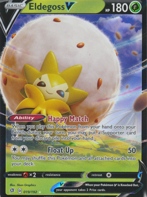 Pokemon SWSH Rebel Clash 019/192 Eldegoss V (Half Art)