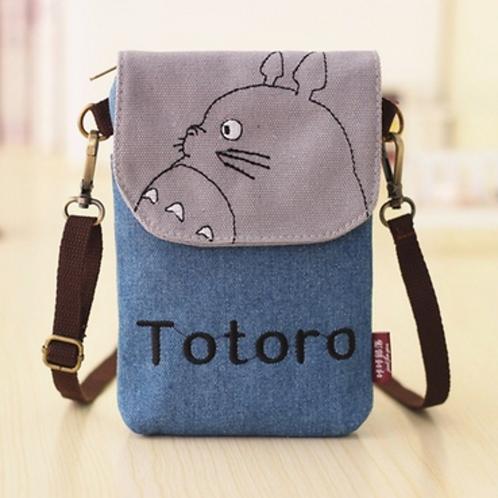 Totoro Mini Canvas Shoulder  Pouch / Bag (Light Blue)