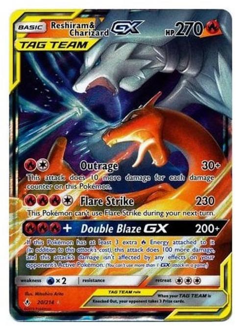 Pokemon SM Unbroken Bonds 020/214 Reshiram & Charizard GX (Tag Team Half Art)