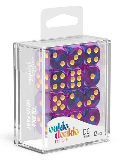 Oakie Doakie Dice D6 Dice 16 mm Gemidice - Amethyst (12)