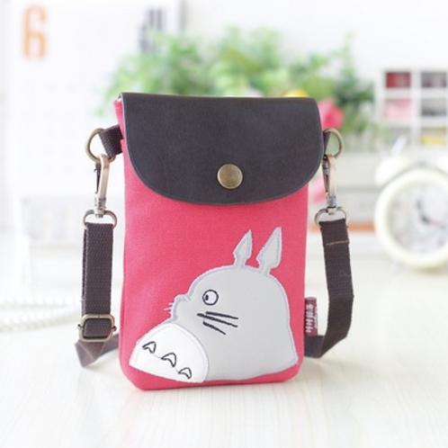Totoro Mini Canvas Shoulder  Pouch / Bag (Pink)
