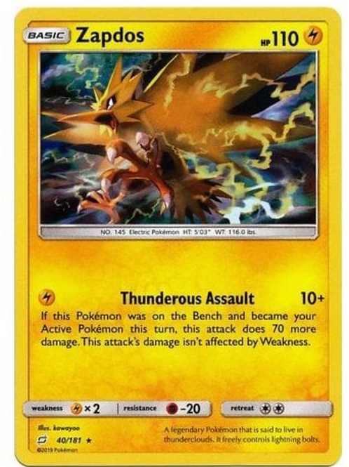 Pokemon SM Team Up 040/181 Zapdos (Holo)