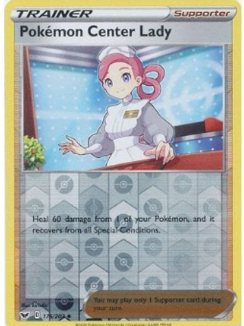 Pokemon Center Lady 176/202 - Rev Holo - Sword & Shield Base Set - Pokemon