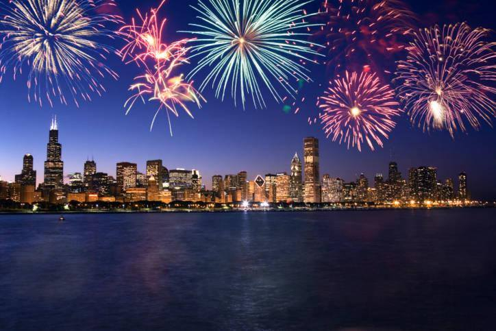 Chicago Skyline With Fireworks