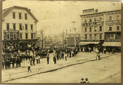 A busy Market Square looking into  Bangor Street