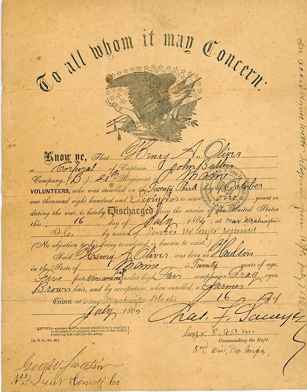 Henry N Oliver discharge 1865 jpg.jpg