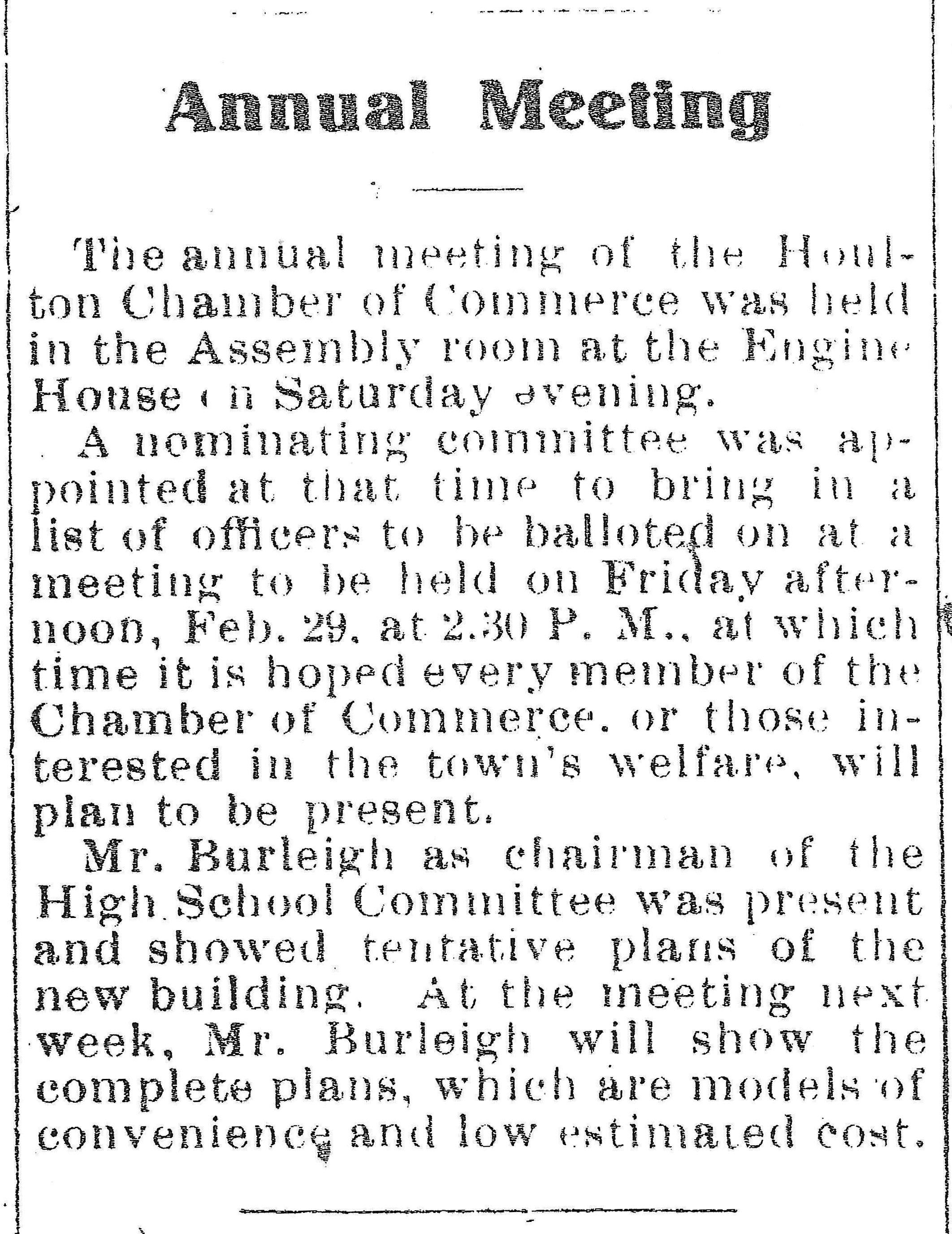 Houlton Chamber Meeting 1914