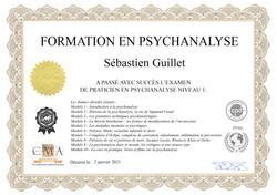 Certificat en psychanalyse - Sébastien Guillet