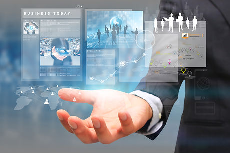 businessman holding virtual screen.business concept.jpg