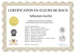 Certificat en Fleurs de Bach - Sébastien Guillet