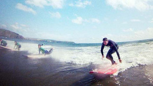 Year 8 students have fun learning to surf at Bigbury Beach