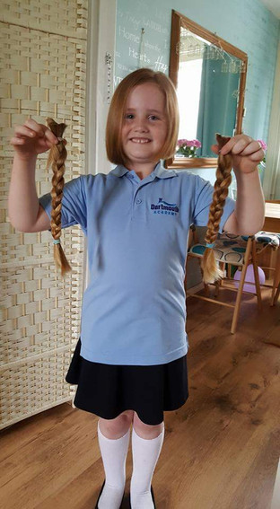 Baylea donates long locks to the Little Princess Trust